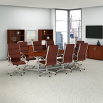 bush business furniture conference table and chair set in hansen cherry