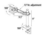 single screen monitor arm dimensions