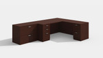 amber l desk in mahogany with lateral file