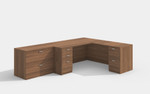 amber l desk in walnut with lateral file