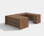 amber reversible walnut u desk