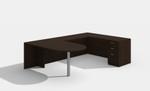 am-361n amber u desk in black cherry