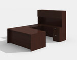 amber mahogany u desk with hutch