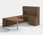 walnut am-363n amber bullet shape u desk with hutch