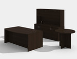 am-383n amber desk set with a722 side table in black cherry