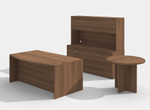 am-383n amber desk set with a722 side table in walnut