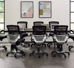 crank height adjustable conference table with task stools