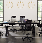 """modway genuine 96"""" crank height adjustable rectangular dining and conference table in black"""