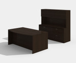 cherryman amber am-305n bow front desk with lateral file and hutch in black cherry