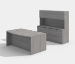 cherryman amber am-305n bow front desk with lateral file and hutch in valley grey
