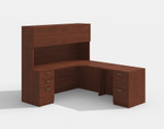 amber cherry l desk with hutch