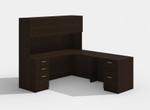 amber black cherry l desk with hutch