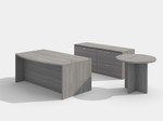 valley grey amber bow front desk with lateral file and side table
