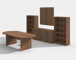 amber walnut complete conference furniture set