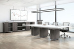 global zira custom two-tone gray and white conference table with power