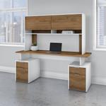 fresh walnut and white jamestown desk with hutch