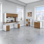 jamestown modern walnut and white office furniture set