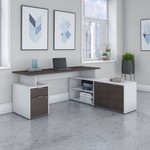 jamestown collection gray and white l-desk