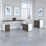 jamestown storm gray and white l desk with file cabinet