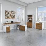 model jtn011 jamestown walnut and white l desk set