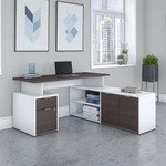 jamestown 60w storm gray and white l-shaped desk