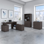 jamestown storm gray l shaped desk with bookcase and file cabinet