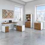 jamestown fresh walnut and white l shaped desk with bookcase and file cabinet