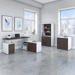 jamestown storm gray and white l shaped desk with bookcase and file cabinet