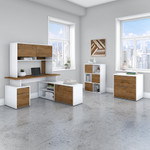 jamestown complete modern office furniture set with walnut and white finish