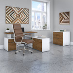 jamestown walnut and white jtn026 desk set with chair