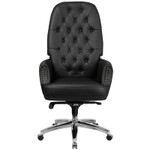 black leather tufted executive office chair