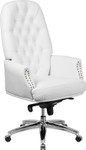 tufted white leather office chair
