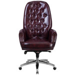 burgundy leather tufted office chair