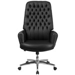 black leather tufted chair front view