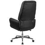black leather tufted chair back view
