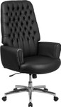 black leather tufted chair side view
