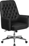 mid back tufted office chair angled view