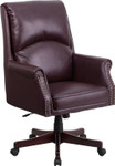 burgundy leather traditional office chair angled view