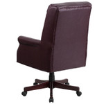 burgundy leather traditional office chair back view