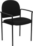 black fabric stack chair with arms