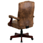 tufted suede office chair back