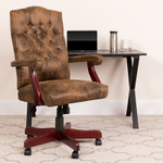 tufted suede office chair in workspace