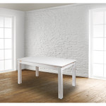 white farm table in space