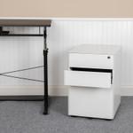white mobile file pedestal in workspace