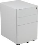 white mobile file pedestal