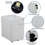 white mobile file pedestal features