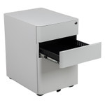 white mobile file pedestal with open drawer