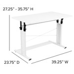 white height adjustable multi purpose workstation dimensions