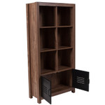 new lancaster storage cube bookcase with open metal doors