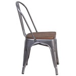 metal stack chair side view